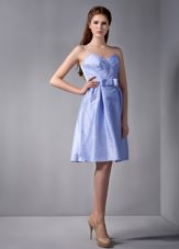 Spaghetti Straps Lilac Ruched Taffeta Dress for Bridesmaid