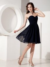 Navy Mini-length Sweetheart Chiffon Bridesmaid Dress