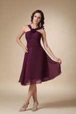 Halter A-line V-neck Flower Dark Purple Bridesmaid Dresses