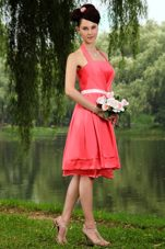 Coral Red Taffeta Bridesmaid Dresses with Halter and Sashes