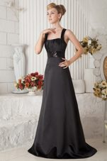 A-line Beaded Bridesmaid Dresses with Straps and Brush Train