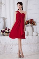 One Shoulder Chiffon Ruched Wine Red Bridesmaid Dresses