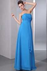 Blue Chiffon Bridesmaid Dresses with Flower and Ruches