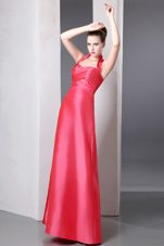 Column Halter Ankle-length Bridesmaid Dresses in Coral Red