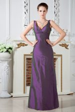 V-neck Taffeta Ruched Purple Column Bridesmaid Dress
