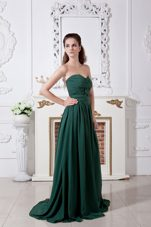Sweetheart Ruched Brush Chiffon Bridesmaid Dresses Green