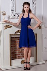 Halter Blue Mini sashed Chiffon 2013 Bridesmaid Dresses