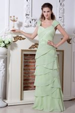 Layered Straps Chiffon Beads Apple Green Bridesmaid Dresses