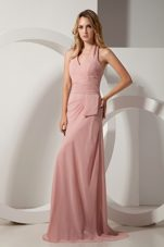 Pink Chiffon Brush Ruche Bridesmaid Dresses with Halter