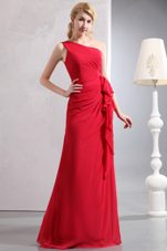 Long One Shoulder Red Chiffon Bridesmaid Dresses Ruched