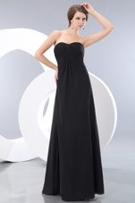 Long Chiffon Bridesmaid Dress 2013 Black Sweetheart