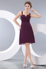 A-line Chiffon Burgundy Straps Bridesmaid Dress Short
