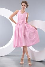 Halter Pink Taffeta Bowknot Bridesmaid Dresses Empire