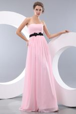 Pink Empire sashed Brush Chiffon Bridesmaid Dress
