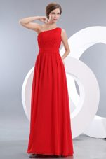 Long Red One Shoulder Ruched Bridesmaid Dress Design