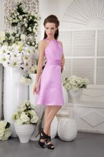 Short High-neck Lavender Satin Dresses for Bridesmaid