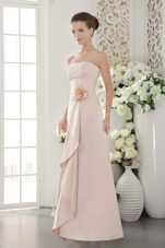 Strapless Long Satin Flower Pink Bridesmaid Dresss Sheath