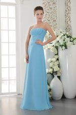 Light Blue Ruched Bridesmaid Dress Chiffon Empire Designers