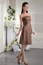 Knee-length Bowknot Chocolate Satin 2013 Bridesmaid Dress