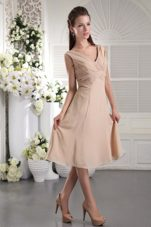 Pleated Champagne Empire Chiffon Straps Bridesmaid Dress
