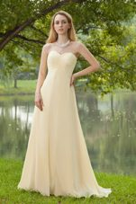 Sweetheart Champagne Dress for Bridesmaid Chiffon Ruched