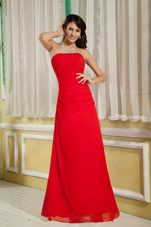 Red Strapless Floor-length Chiffon Ruched Bridesmaid Dresses