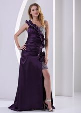 Purple High Slit One Shoulder Beading Celebrity Pageant Dresses