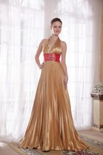 Beading Halter Champagne Brush Train Prom Celebrity Dresses
