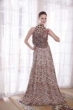 High-neck Empire Leopard Beading Prom Celebrity Dresses