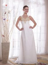 V-neck White Empire Brush Train Beading Celebrity Evening Dresses