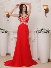 Sweetheart Red Appliques Brush Train Celebrity Evening Dresses