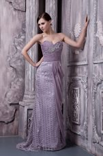 2013 Lavender Sweetheart Brush Train Beading Celebrity Pageant Gown