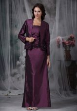 Classic Purple Strapless Ankle Length Mother Dress