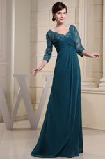 Laced 34 Sleeves For Mother Of The Bride Dress V-neck