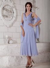 Lilac Straps Tea-length Mother of Groom Dress with Shawl Ruched