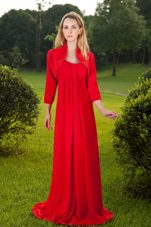 Red Straps Mother of the Bride Dress Chiffon Ruche 2013