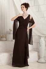 Brown Mother Of The Bride Dress V-neck Chiffon Ruche