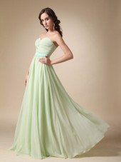 Sweetheart Cheap Yellow Green Chiffon Prom Dress Belt