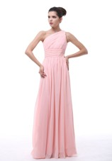 Cheap Ruched Beading Light Pink One Shoulder 2013 Prom