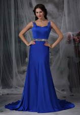 Column Cheap Royal Blue Beading Prom Dress Straps