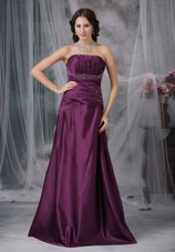 A-line Cheap Dark Purple Beading Prom Dress Taffeta