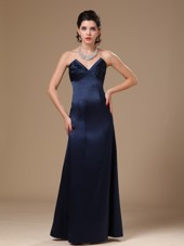 Stylish Navy Blue Column V-neck Cheap Prom Gowns