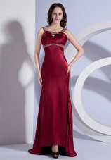 Beaded Straps Cheap Burgundy Taffeta Brush 2013 Prom Dress