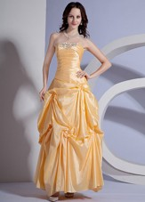 2013 Cheap Appliques Yellow Ankle-length Prom Dress