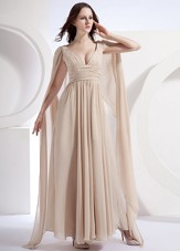 Customize Champagne V-neck Watteau Chiffon Prom Dress Cheap