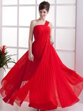 Cheap One Shoulder Red Pleated Long Chiffon Prom Dress