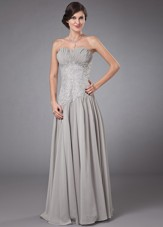 Grey Cheap Sweetheart Chiffon Floor-length Beading Prom Dress
