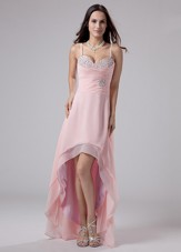 Spaghetti Straps High-low Pink Chiffon Prom Dress