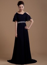 Black Cheap Chiffon Mother Of The Bride Dress V-neck Beaded