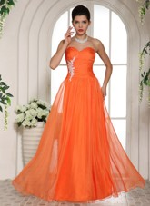 Orange Red Cheap Appliques Prom Celebrity Dress Sweetheart